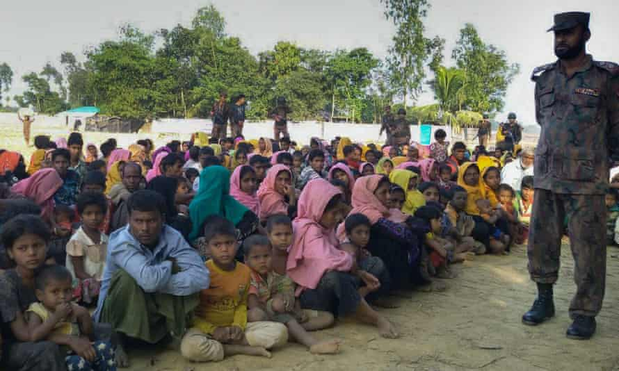 Rohingya Muslims from Myanmar, who tried to cross the Naf river into Bangladesh to escape sectarian violence.