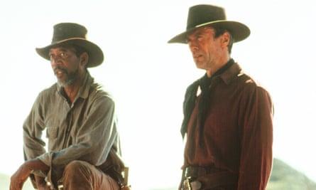 Morgan Freeman and Clint Eastwood in 1992's Unforgiven.