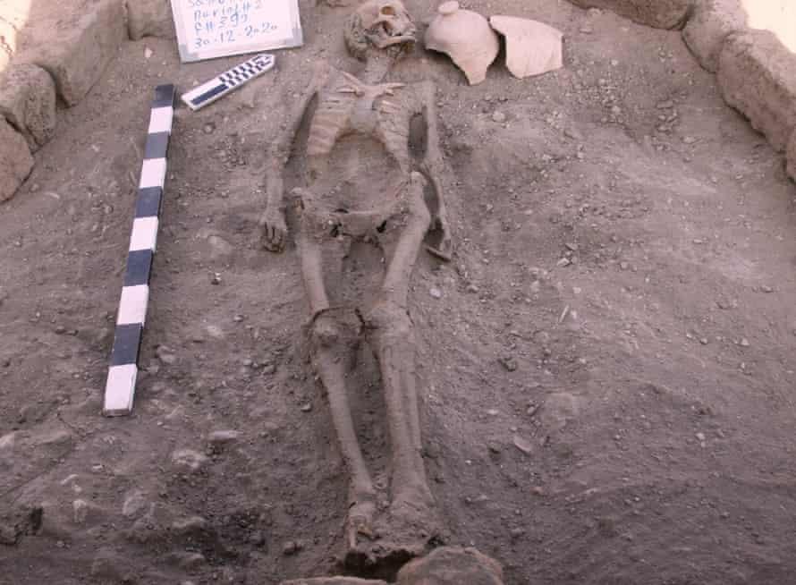 A skeletal human remain is seen near Luxor, Egypt.