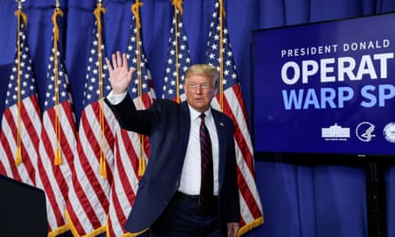 Trump at an 'Operation Warp Speed' vaccine presentation in July. His seeming ability to manipulate key agencies has given credibility to the scenario of a vaccine surprise.
