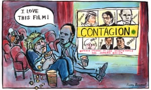 Henny Beaumont cartoon 24.6.20: Johnson and Cummings in cinema watching film Contagion