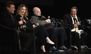 Steven Bauer, Michelle Pfeiffer, Brian De Palma and Al Pacino.