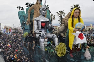 Viareggio, Italy. The city's carnival, considered one of the most important in Italy, is characterised by its giant papier-mache floats depicting caricatures of popular characters, politicians and fictional creations