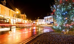 Light trails from cars passing through the Georgian market town of Holt at Christmas