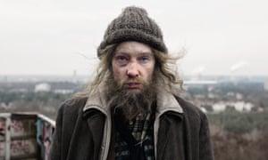 Blanchett as a homeless man in Manifesto