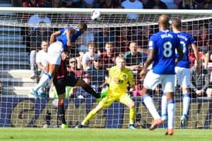 Dominic Calvert-Lewin of Everton left scores with a header.