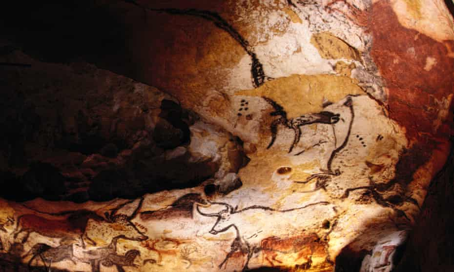 a detail of the 17,00-year-old cave paintings in Lascaux.