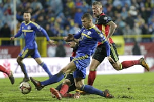 Edin Dzeko, in action for Bosnia against Belgium this month, did not imagine he would achieve such success. 'I never gave a thought to being a star,' he says.