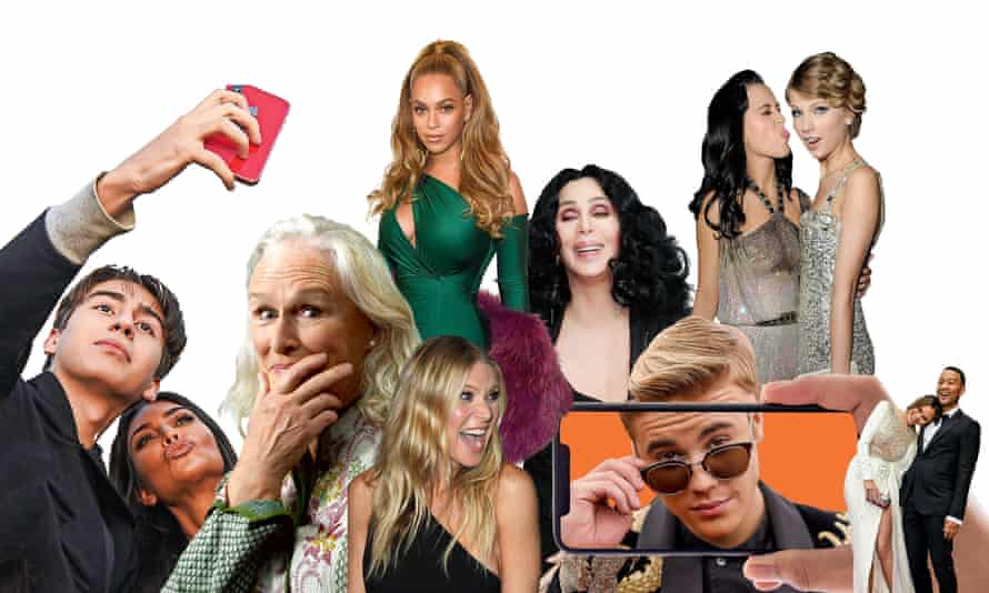 Montage of celebrities on social media. From left: Kim Kardashian poses for a selfie; Glenn Close; Beyoncé; Gwyneth Paltrow; Cher; Justin Bieber; Katy Perry and Taylor Swift; Chrissy Teigen and John Legend