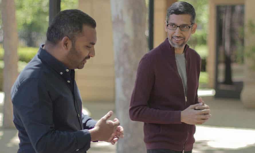 Amol Rajan and Sundar Pichai in the BBC interview.