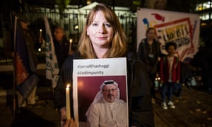Michelle Stanistreet, the General Secretary of the NUJ, at a silent vigil to remember Jamal Khashoggi outside the Saudi embassy in Mayfair, London.