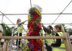 A floral totem in the Spirit of Summer exhibit from Marks and Spencer