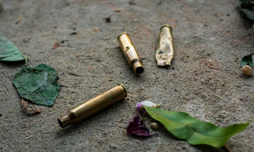 Spent bullet shells on the ground at the site of deadly clashes between anti-coup protestors and security forces this week in Yangon, Myanmar.