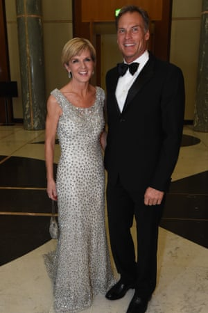 Julie Bishop and partner David Panton arrive for the mid winter ball at Parliament House in Canberra.