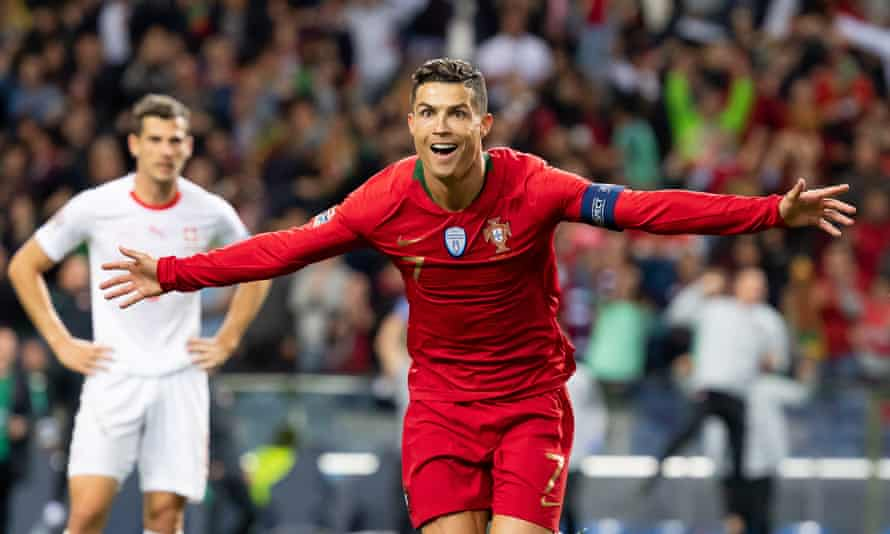 Cristiano Ronaldo celebrates after scoring the second goal of his hat-trick against Switzerland.