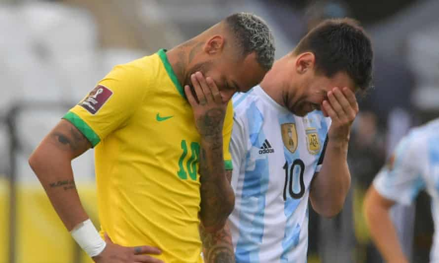 Neymar and Lionel Messi before things went down in São Paulo.