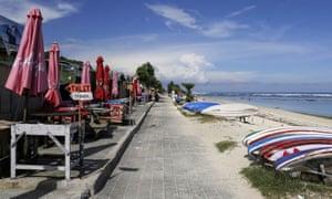 An empty boardwalk o\n Pandawa Beach in South Kuta, Bali