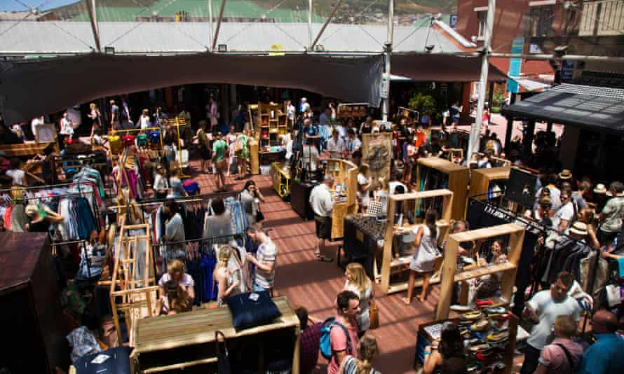 Aerial shot of visitors and traders at Cape Town's the Saturday Neighbourgoods Market.