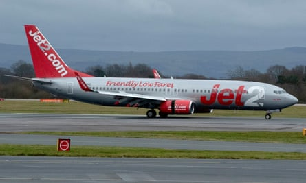 A Jet2 plane landing at Manchester Airport.