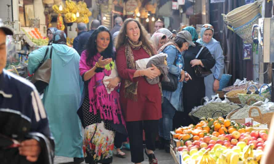 Alice Morrison (right) goes shopping with Michelin chef Najat in a Moroccan souk.