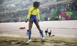 Caterine Ibarguen of Colombia shows her frustration after her last attempt in the women's long jump during the athletics at the Pan American Game in Lima, Peru
