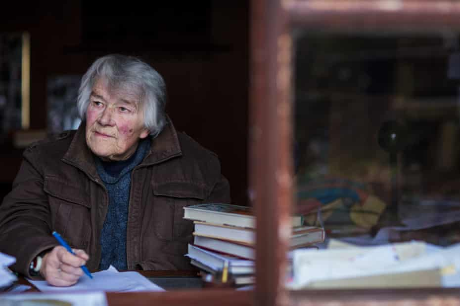 Dervla Murphy looks out of her study window at her home in Lisemore, Ireland. Her health problems mean she only feels able to writer shorter articles … leaving the book from her most recent journey to Jordan unfinished.