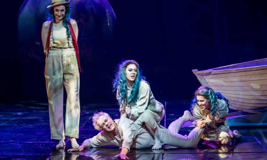 Frolicking with ease: Rheinmaidens Christina Bock, Angela Simkin and Lauren Fagan with Johannes Martin Kranzle as Alberich.