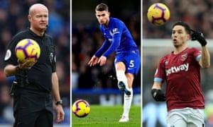 Left to right: Referee Lee Mason, Jorginho of Chelsea and West Ham's Samir Nasri