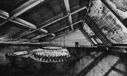 Production designer Ken Adam's sketch for the war room in Dr Strangelove.