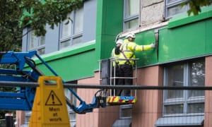 Cladding is removed from Hanover Tower in Sheffield.
