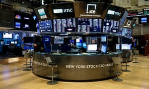 The trading floor of the New York Stock Exchange after workers tested positive for Covid-19 on 19 March.