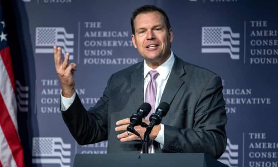 Kansas secretary of state Kris Kobach, the Republican gubernatorial candidate running a tight race against Democrat Laura Kelly.
