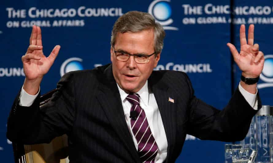 Jeb Bush in Chicago. Bush described surveillance as a necessary part of a 'long-term commitment to fight this battle' against terrorism.