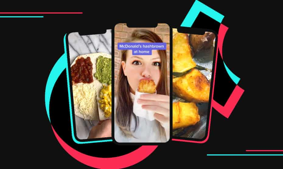 Guardian design image: phones showing tortilla hack, woman with homemade hash brown and crispy potatoes