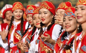 Bishkek, Kyrgyzstan: More independence, this time in Kyrgyzstan. Dancers in traditional costumes perform during celebrations marking the 26th anniversary of independence from the Soviet Union