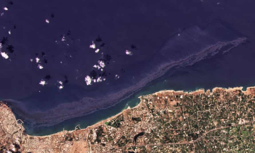 The oil spill from a thermal power station in the Syrian city of Baniyas is seen spreading along the country's coast