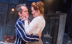 Tom Hollander (Henry Carr) and Clare Foster (Cecily) in Travesties at the Menier Chocolate Factory.
