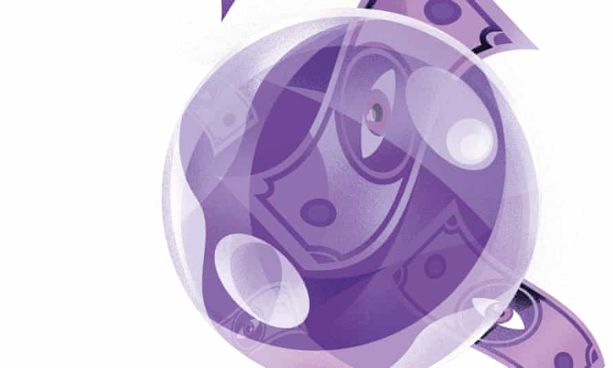 An illustration, in shades of purple, of a crystal ball with banknotes, with pictures of an eye on, being fed into it