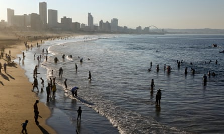People relaxing on Durban Beach, South Africa