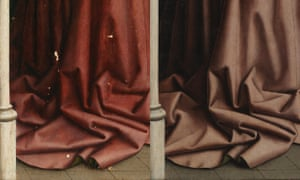 Draperies before, left, and after restoration.