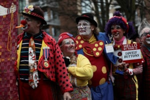 Clowns and entertainers gather to attend an annual service of remembrance in honour of British clown Joseph Grimaldi, at All Saints Church in Haggerston