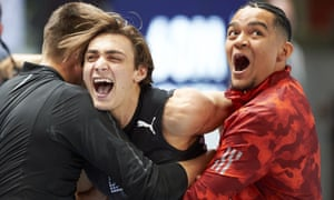 Sweden's Armand Duplantis (centre) celebrates with teammates after setting a world pole vault record of 6.17 metres in Torun, Poland.