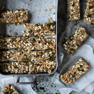 Sesame and green olive bars