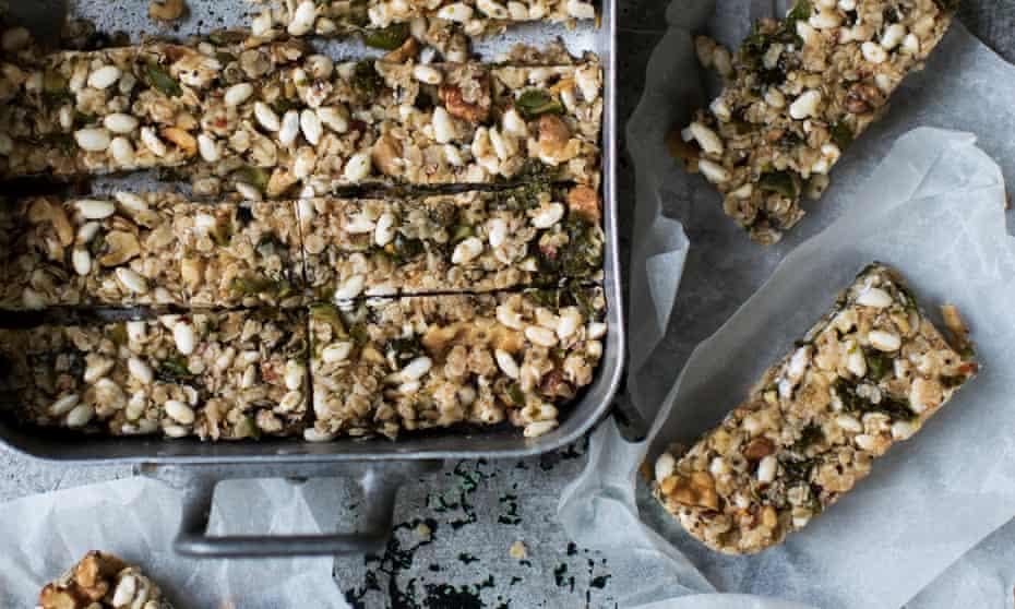 Sesame and green olive bars