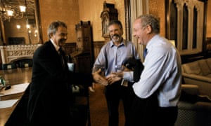 Tony Blair (L) meets Gerry Adams (C) and Martin McGuinness (right) in his parliamentary office in 2007