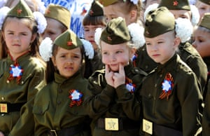 Rostov-on-Don, Russia Children in military uniform take part in a parade to honour WWII veterans and to mark the upcoming Victory Day