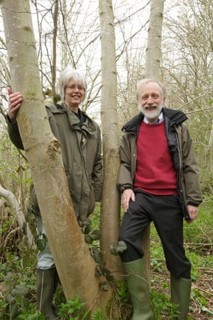 Dr Anne Edwards and Professor Allan Downie with Betty the ash tree