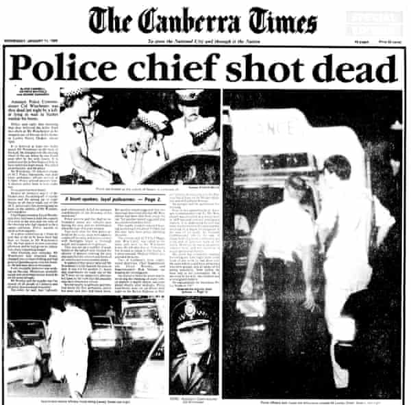 The Canberra Times's front page on 11 January 1989, the day after Colin Winchester was murdered