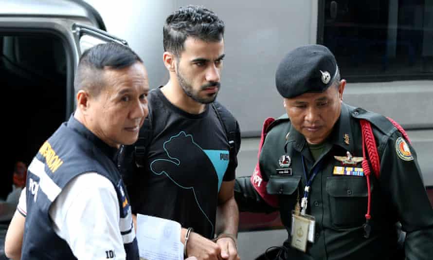 Hakeem Al Araibi arrives at court in Bangkok.