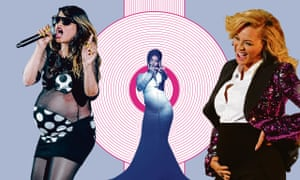 MIA at the 2009 Grammy awards; Cardi B on SaturdayNight Live in April 2018, when she revealed her pregnancy; Beyoncé at the2011 MTV VideoMusic awards.